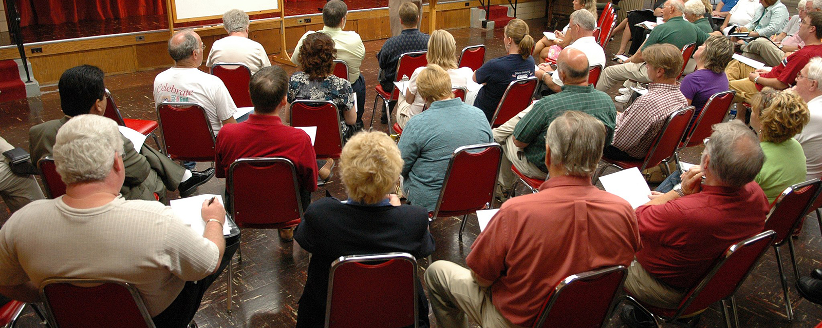 Volunteers at a community meeting in Ohio