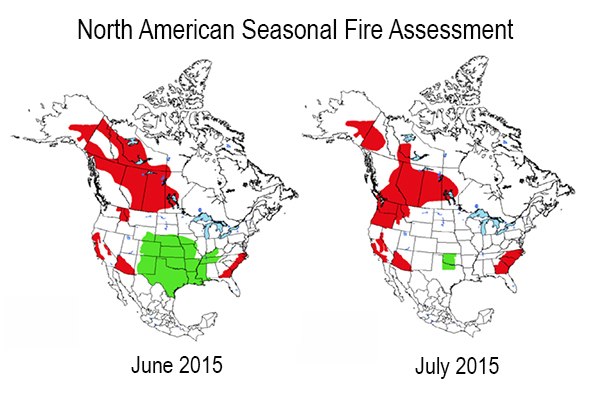 North American Wildfire Seasonal OutlooksJune And July - Us wildfire activity map