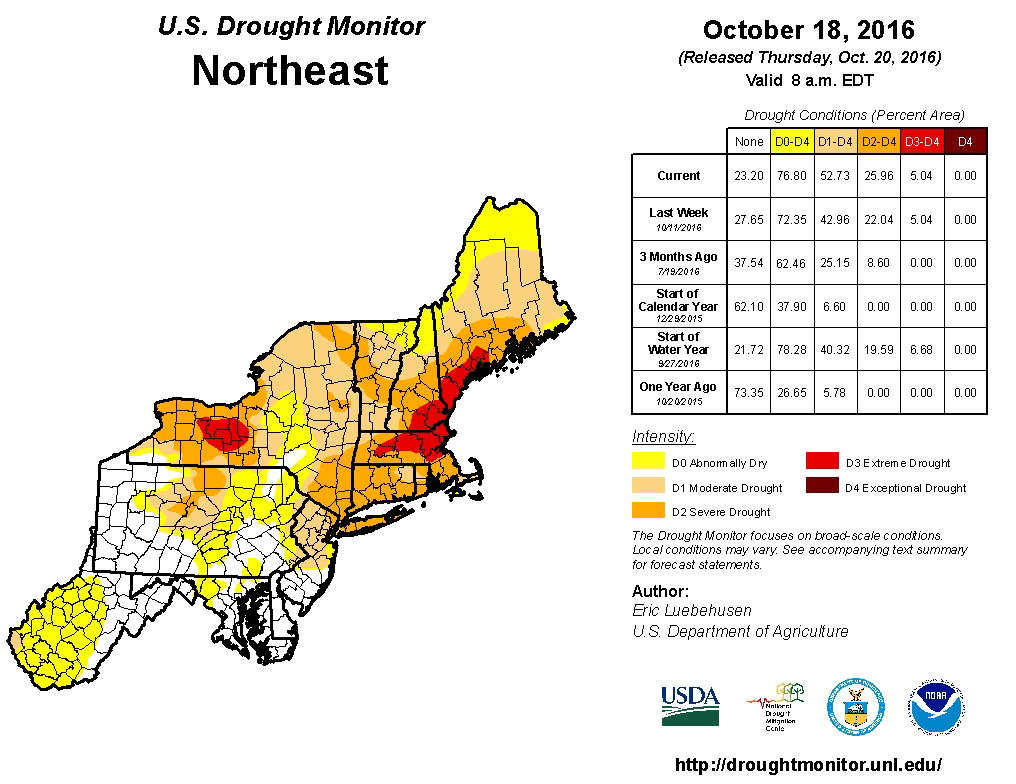 Northeast Regional Drought Map Fall US Climate - Us drought map 2016