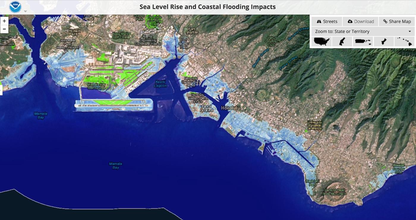 Honolulu After Six Feet Of Sea Level Rise US Climate - Map of us after sea level rise