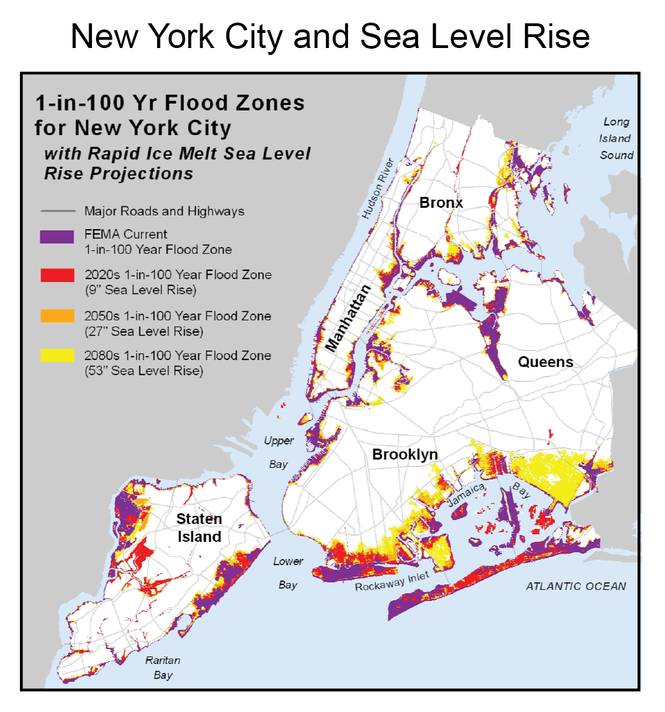 New York City And Sea Level Rise US Climate Resilience Toolkit - Us sea level rise map
