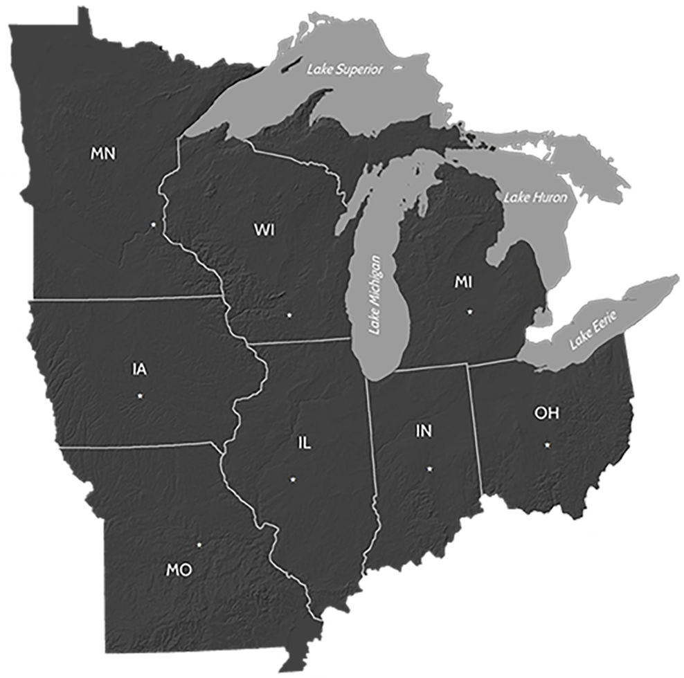 Midwest Region Map | U.S. Climate Resilience Toolkit