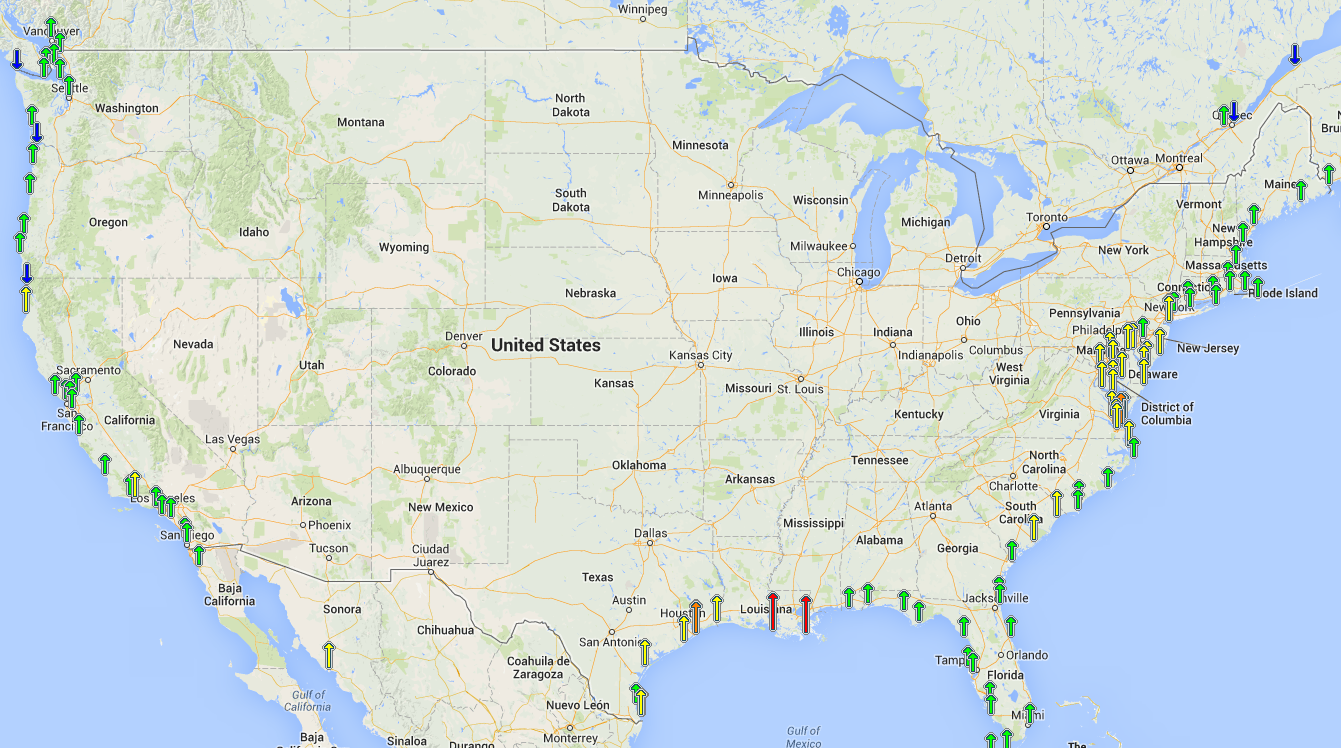Sea Level Trends Map US Climate Resilience Toolkit - Us sea level map