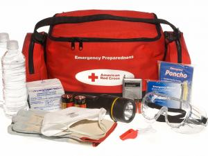 """A Red Cross """"ready to go"""" preparedness kit showing the bag and its contents."""