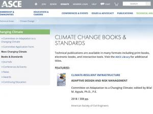 screen capture from ASCE Climate Change Books & Standards