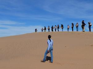 Photo of Dr. Hiza Redsteer and students on dunes
