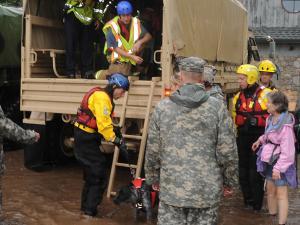 Colorado National Guardsmen respond to floods in Boulder County, Colorado, on September 12, 2013