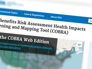 Screen capture of the COBRA website