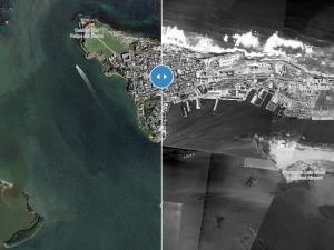 An image of the CostaVisPR tool showing an aerial view of a Puerto Rican coast