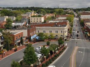 Aerial view of downtown Blacksburg, VA