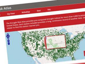 Screen capture from the Drought Risk Atlas website