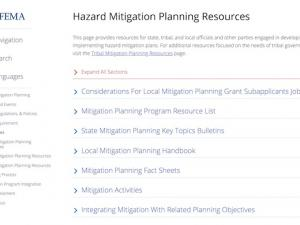 Screenshot from FEMA Hazard Mitigation Resources site