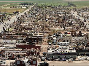 Photo of tornado damage in Greensburg, Kansas