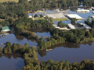Aerial view of flooded buildings