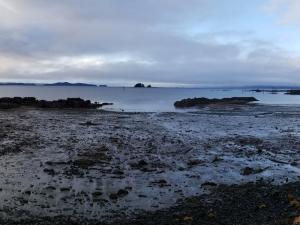 Cloudy sky over ocean and flat beach environment