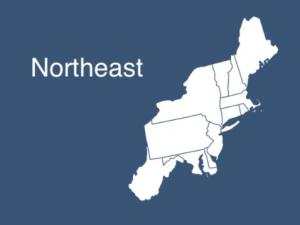Map showing boundary of Northeast Region
