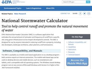 screen capture from stormwater calculator site