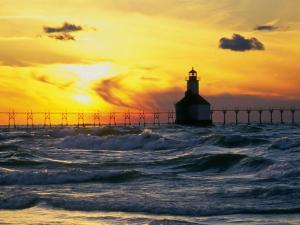 Sunset behind the Pierhead Lighthouse in St. Joseph, Michigan