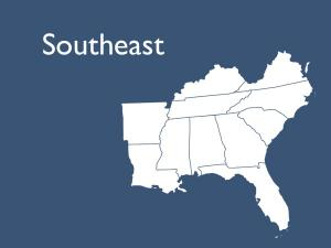 Map showing boundary of Southeast Region