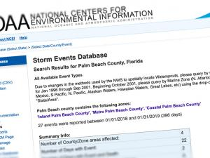 Screen capture of the Storm Events Database