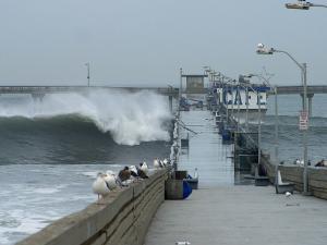 High tide at the Ocean Beach pier, San Diego, California