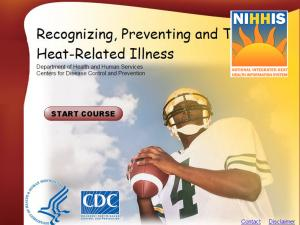 Home screen of the Recognizing, Preventing, and Treating Heat-Related Illness training module