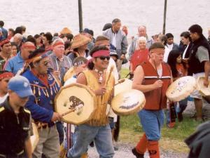 Image of drummers in a Salmon procession
