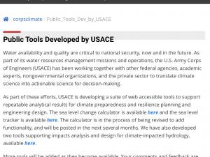 Screen capture from USACE Tool site