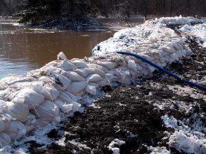 Levee holding flood waters in Fargo, North Dakota