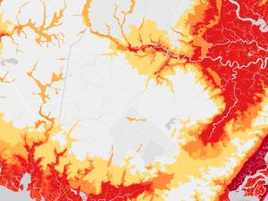 Screen capture from the Coastal Flood Exposure Mapper