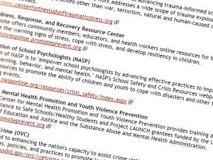 Screen capture from the Disaster Behavioral Health Information Series website