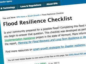 Screen capture from the Flood Resilience Checklist