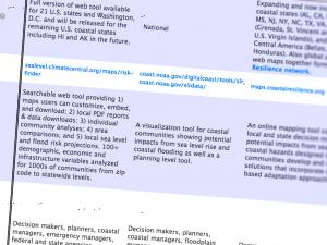 Screen capture from Sea Level Rise and Coastal Flood Web Tools Comparison Matrix