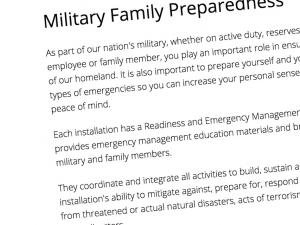 Screen capture of the Ready.gov Military Family Preparedness webpage
