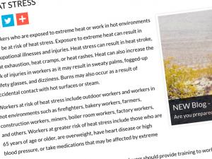 Screen capture from the Heat Stress website