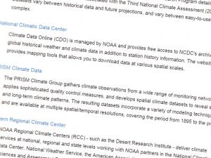 Screenshot from Northwest Climate Data Resources