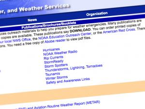 Screen capture from the NWS Offices of Services website