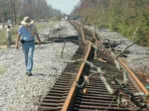 Photo of storm-damaged railroad tracks