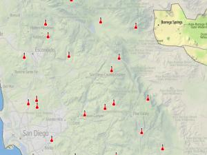 Screen capture from the Santa Ana Wildfire Threat Index tool
