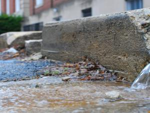 Stormwater flows onto street