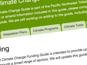 Screen capture from the Tribal Climate Change Guide website