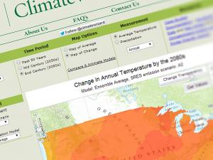 Screen capture from the ClimateWizard websitel