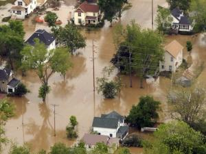 A flood damaged aerial view of downtown Gays Mills, Wis., is shown from an UH-60 Black Hawk helicopter assigned to the Army.