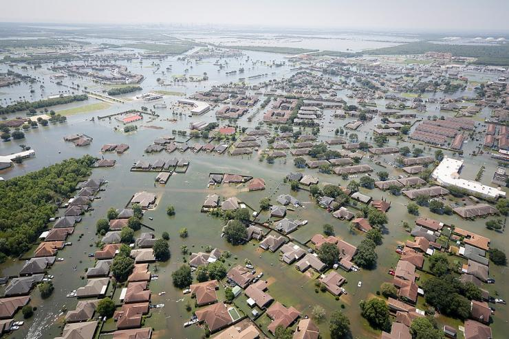 Aerial view of flooding from Hurricane Harvey