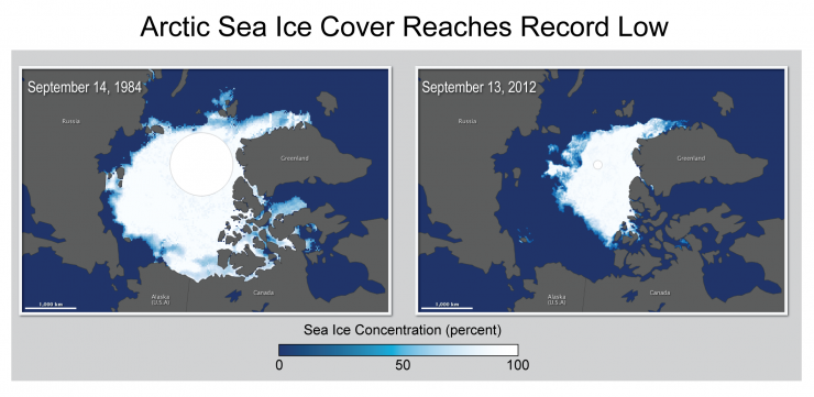 Maps showing Arctic Sea ice cover in 1984 and 2012