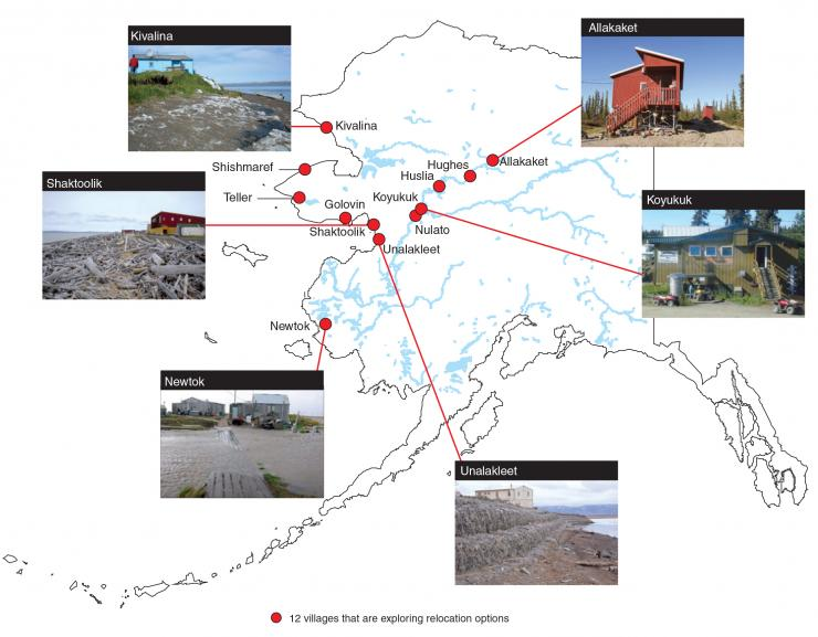 Map of 12 Alaska Native villages that are exploring relocation options