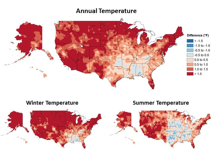 Maps showing observed changes in temperatures across the United States