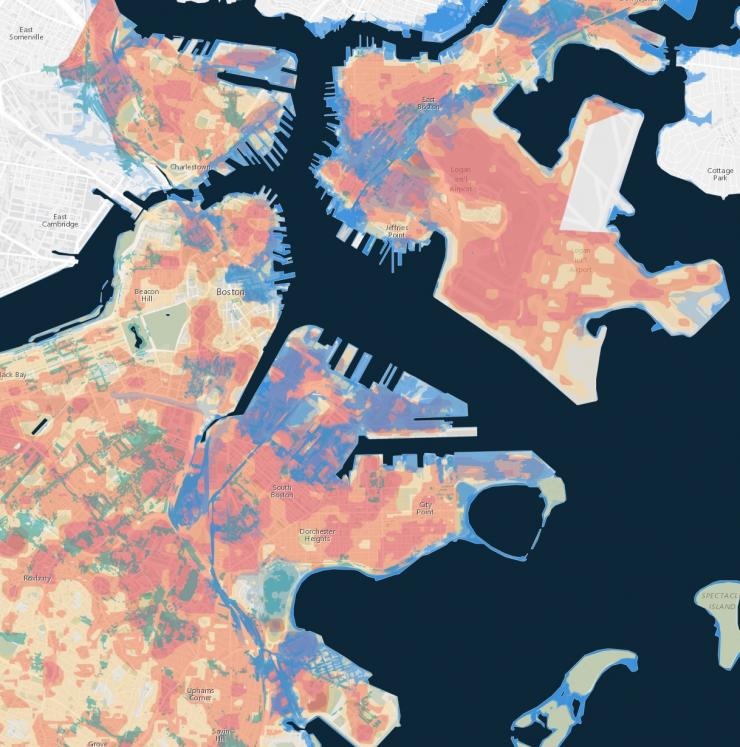 Map of Boston showing flooding, extreme heat, and social vulnerability in 2050