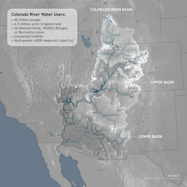 Map showing extent of the Colorado River Basin spanning seven states in the West
