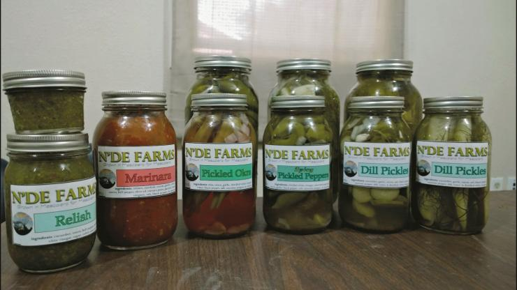 Canned goods from N'de Farms